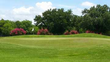A view of a green at Randolph Oaks Golf Course